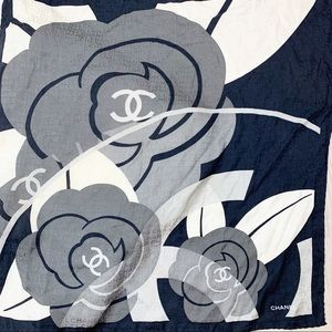 CHANEL Accessories - Chanel Rare Authentic Floral Vintage Scarf B1580